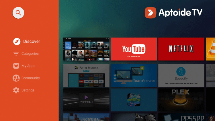 Aptoide TV Home Screen