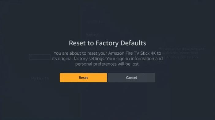 Confirm Reset