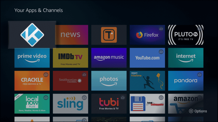 Kodi on Front of Your Apps and Channels