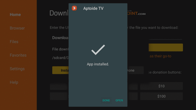 Launch Aptoide TVLaunch Aptoide TV