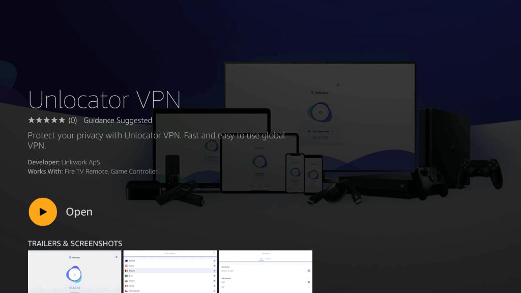 Launch Unlocator VPN on Fire TV