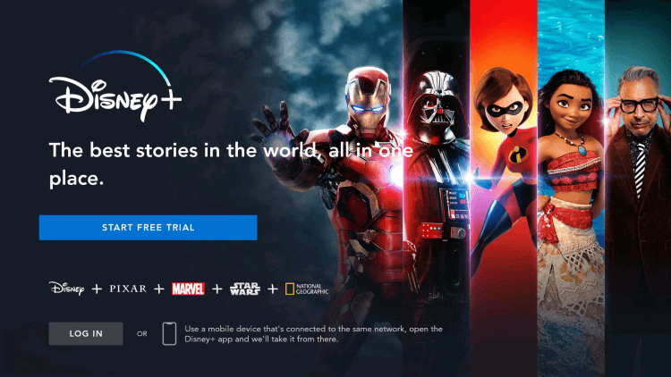 Log in or Sign Up for Disney Plus