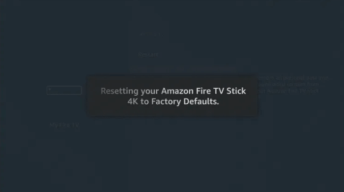Reset Firestick using Settings