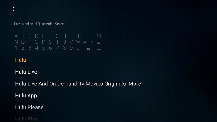 Search for Hulu app