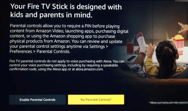 Set Parental Controls to Set Up Fire Stick