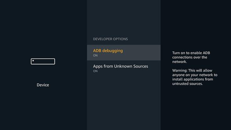 Turn on Developer Options to Sideload Applications on Firestick