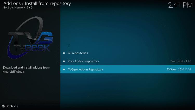 Choose TVGeek Addon Repository