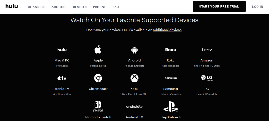 Hulu Live TV Devices