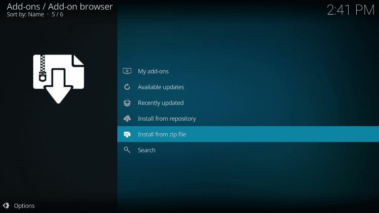 Select Install from Zip file  - 13 CLOWNS KODI ADDON
