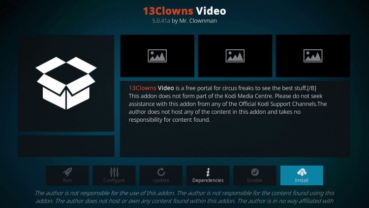 Select Install - 13 Clowns Kodi Addon