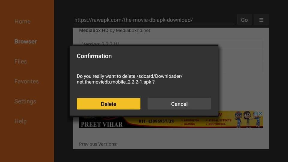 Confirm Delete - MediaBox HD