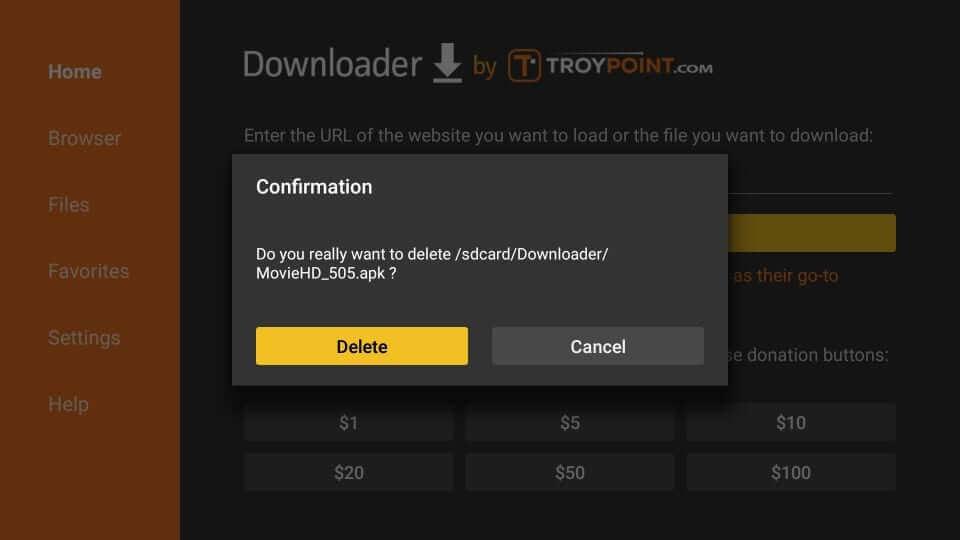 Confirm Delete - Movie HD Apk