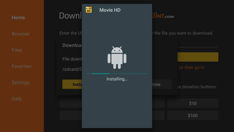 Installing - Movie HD Apk