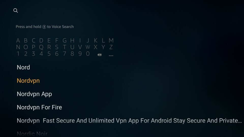 Search for NordVPN