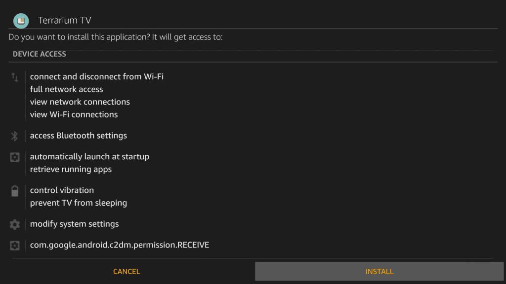 Select Install - Terrarium Firestick