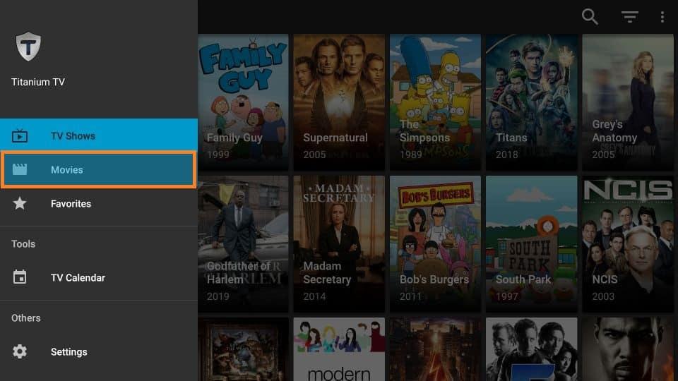 Titanium TV Menu