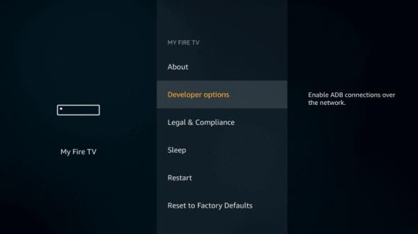 Developer options - YesPlayer on Firestick