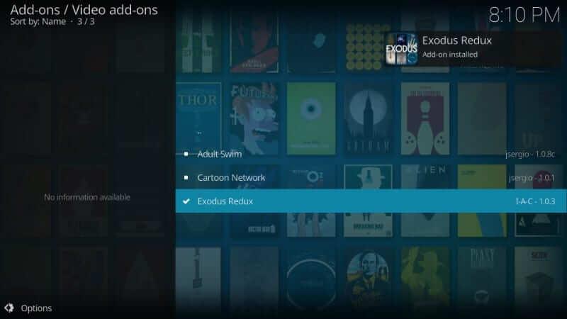 Exodus Redux Addon Installed