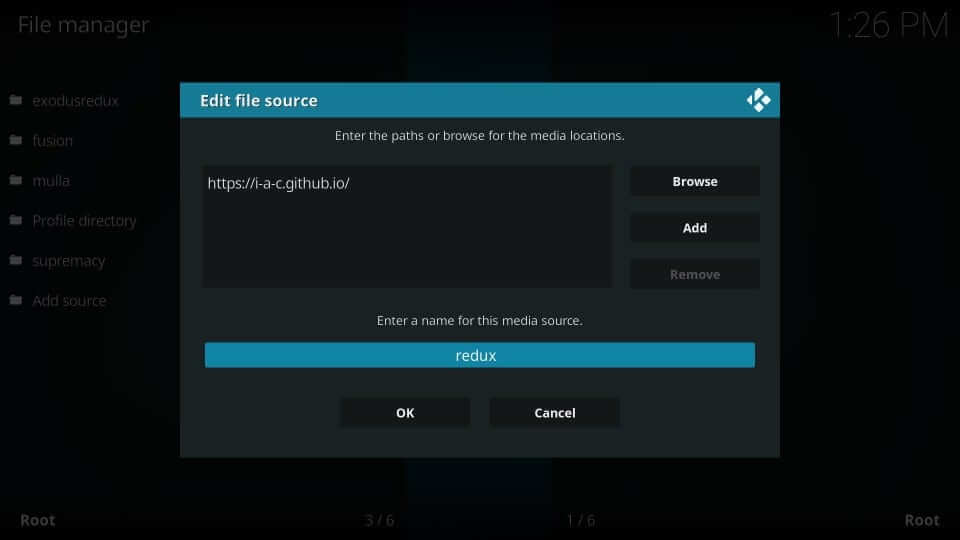 Input Source Name - Exodus on Kodi