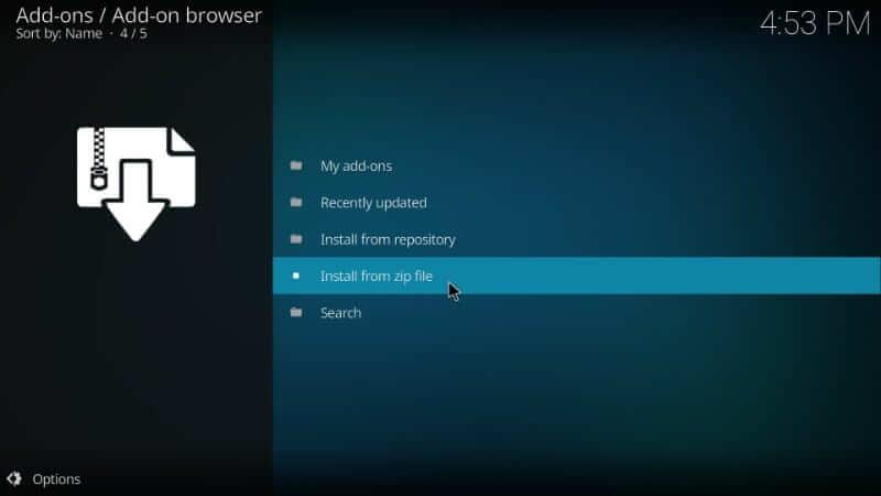 Install from zip file - Exodus on Kodi