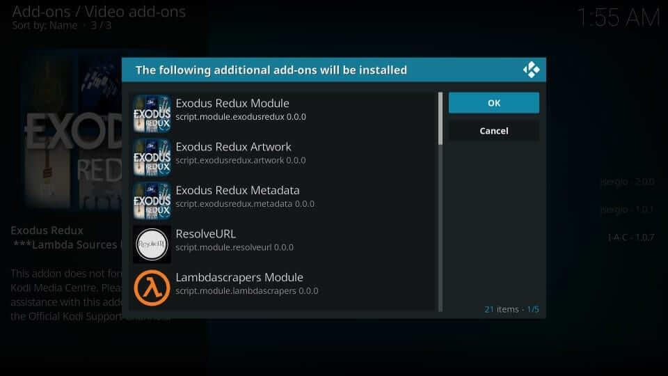 Select OK - Exodus on Kodi