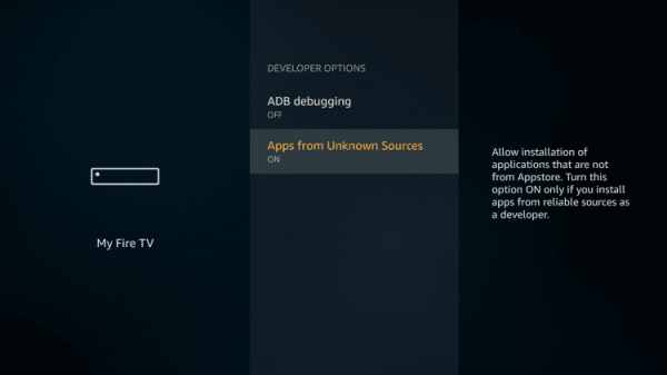 Enable Unknown Sources - Install MX Player on Firestick