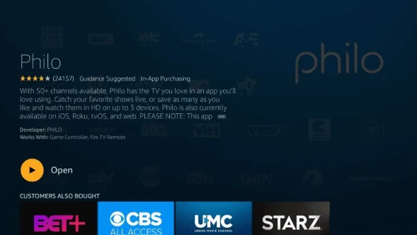 Open - Philo TV on Firestick