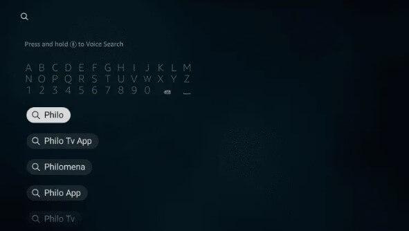 Search Philo TV on Firestick