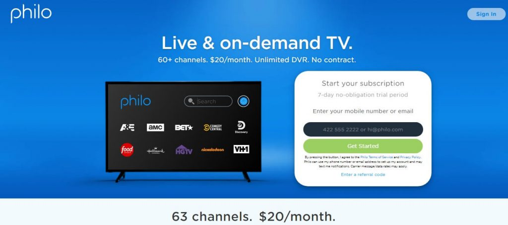 Sign In or Log in - Philo TV on Firestick