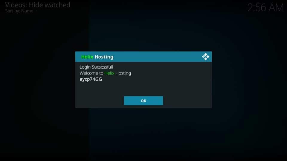 Press Ok - Helix IPTV