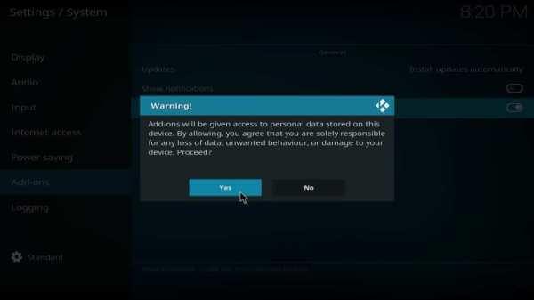 Select Yes - Helix IPTV