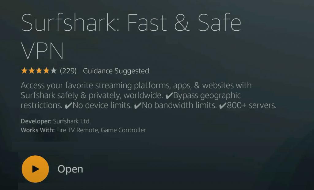 Open - Surfshark VPN Firestick