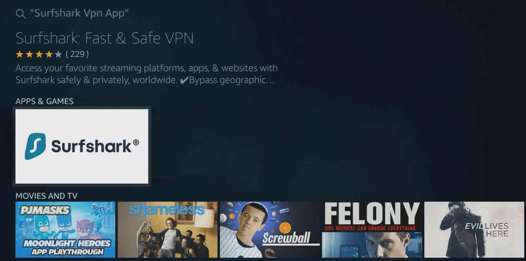 Select Surfshark tile - Surfshark VPN Firestick