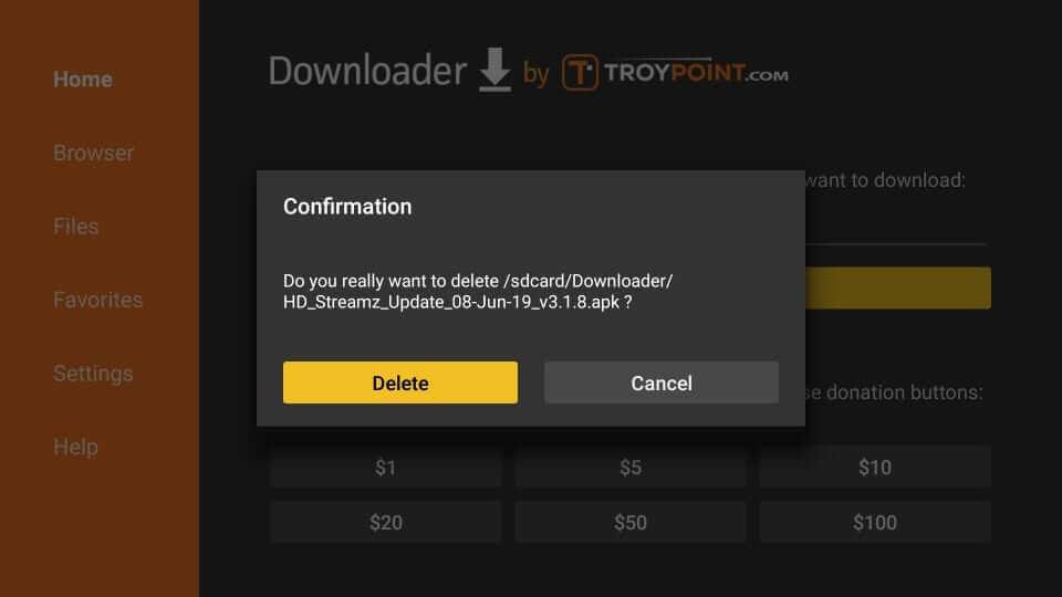 Confirm Delete Apk - HD Streamz Firestick