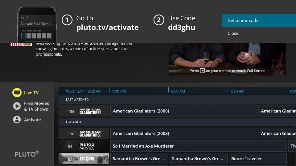 Activation Code - Pluto TV on Firestick