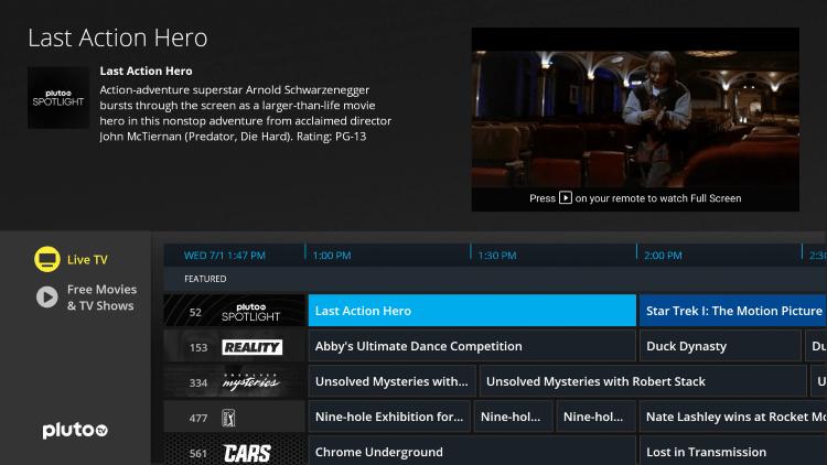 Home Screen - Pluto TV on Firestick