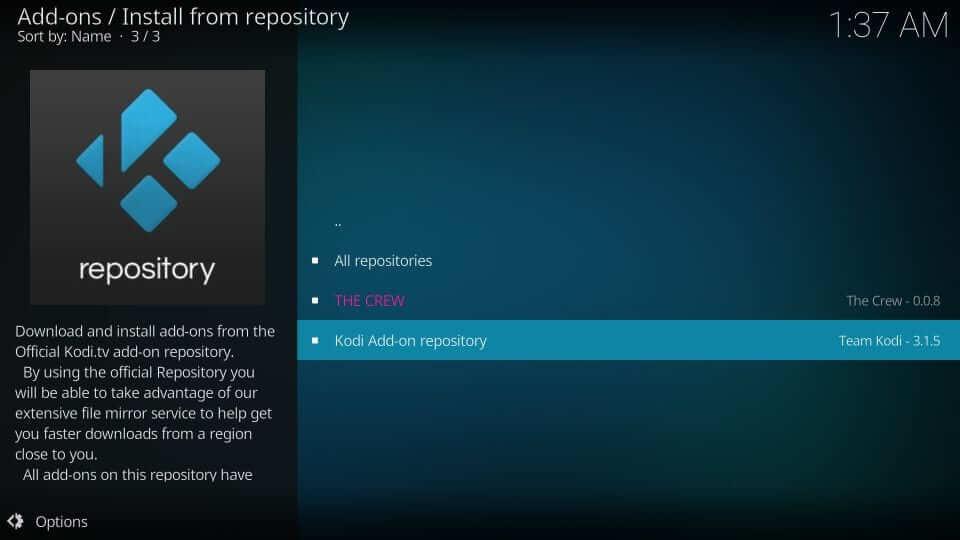 Select Kodi addon Repository
