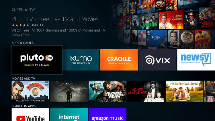 Select Pluto TV tile