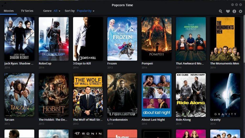 Popcorn Time Home Screen