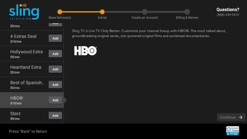 Add Extras - Sling TV on Firestick