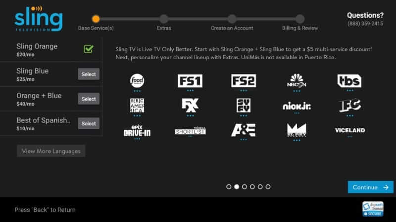 Choose Plan - Sling TV on Firestick