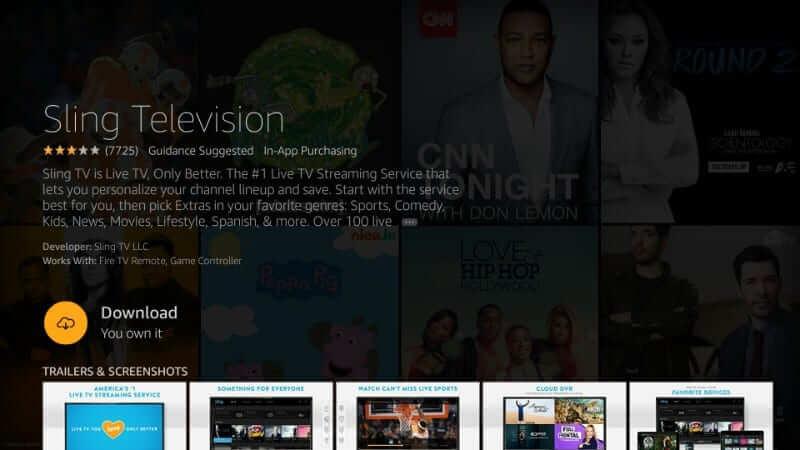 Click Download - Sling TV on Firestick
