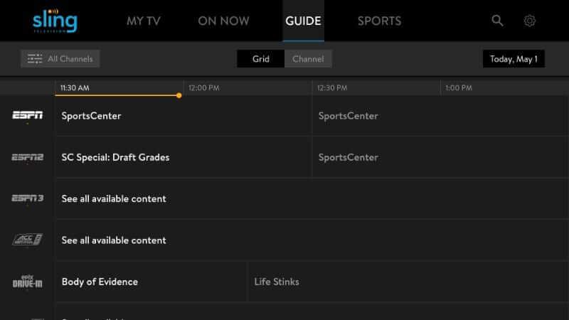 Guide - Sling TV on Firestick