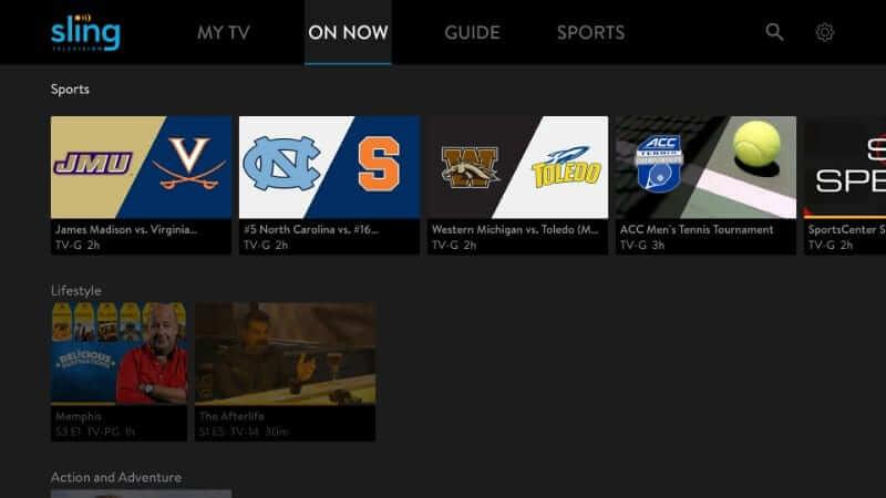 On Now - Sling TV on Firestick