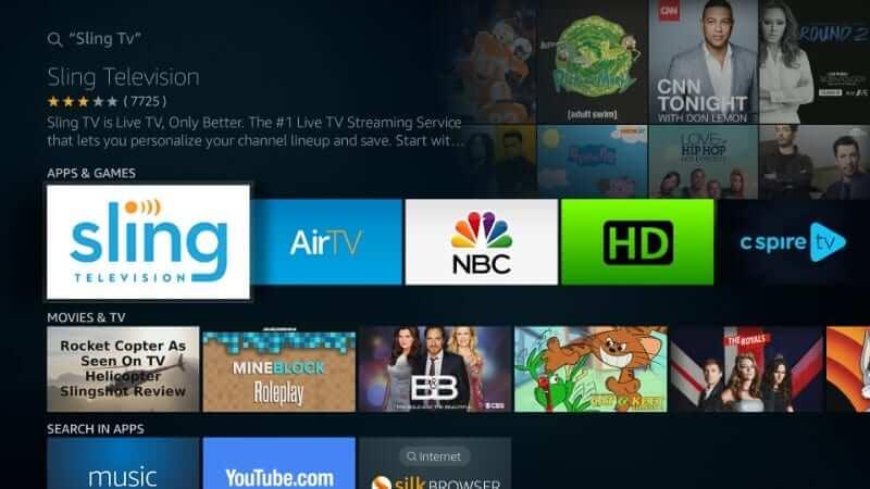 Select Sling TV tile