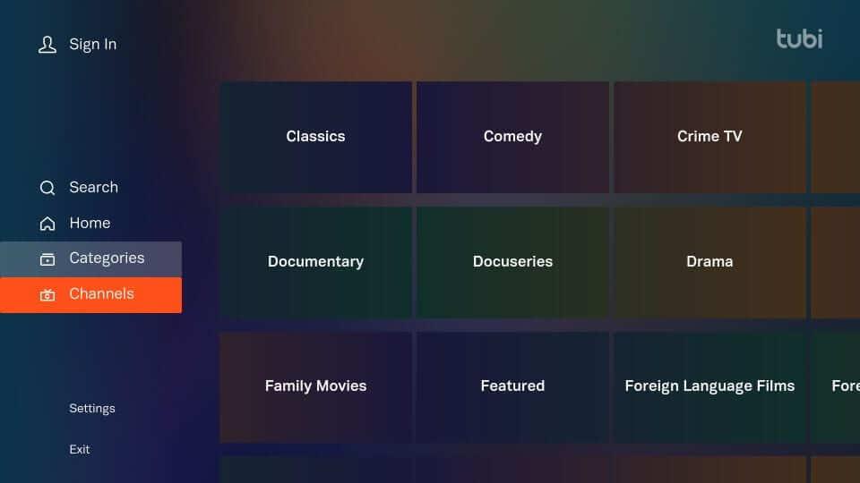 Channels - Tubi TV Firestick