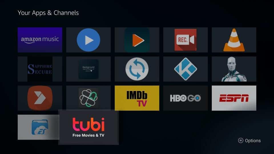 Highlight Tubi TV tile