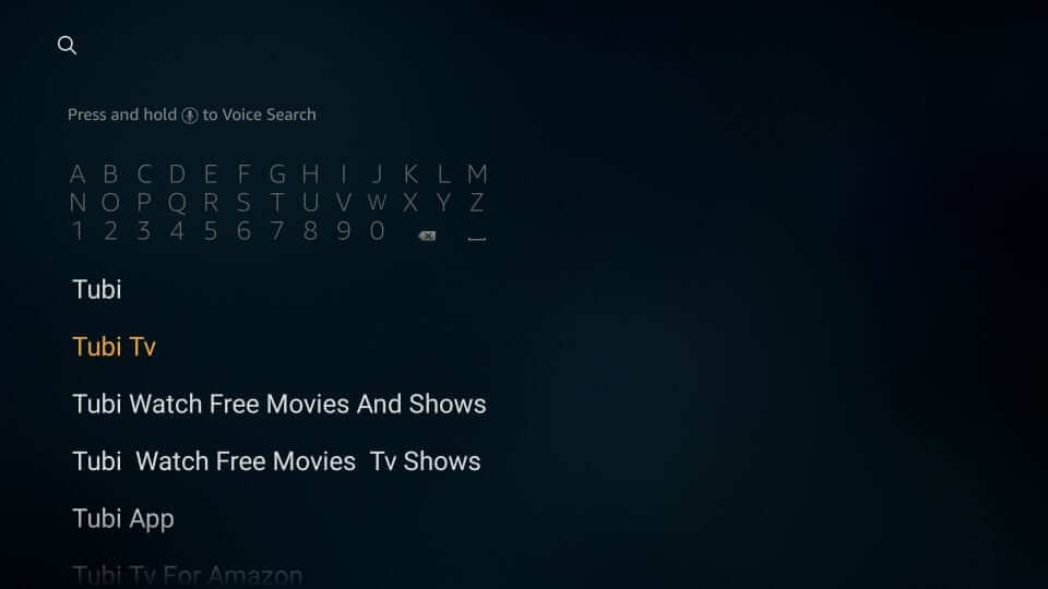 Search for Tubi TV