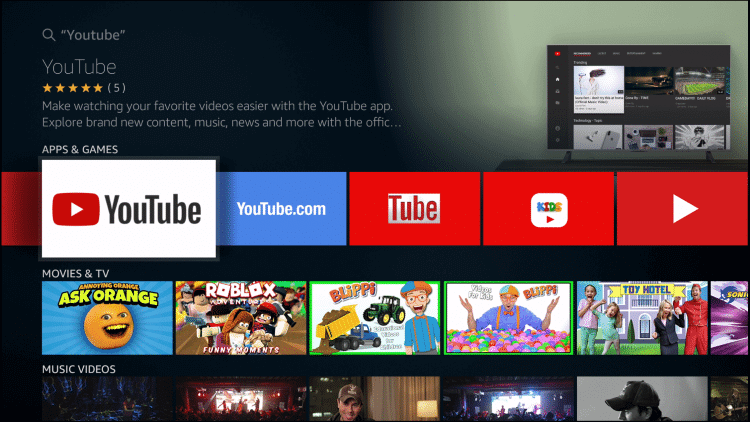 Select YouTube on Firestick