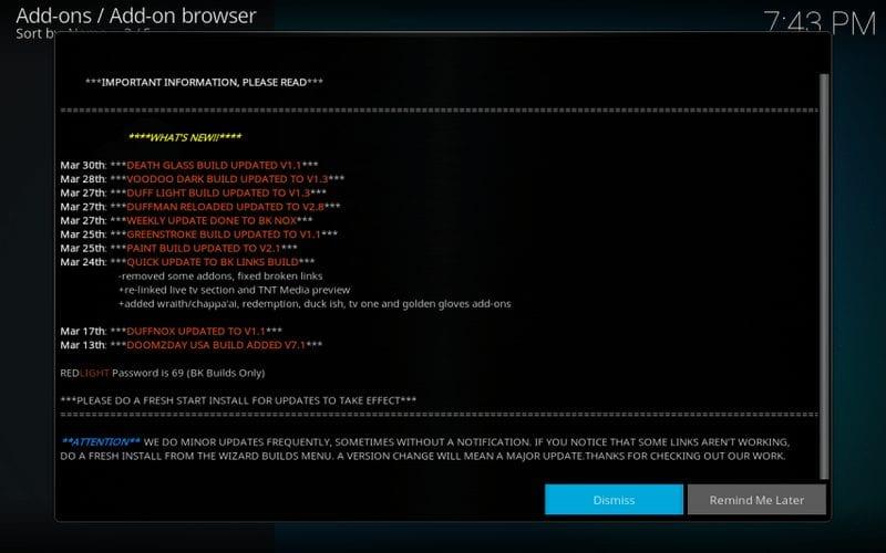 Dismiss Information Screen - BK Links Build Kodi